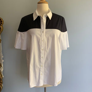 Carolina Herrera Color Block Stretch Blouse Shirt